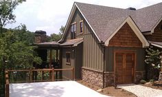 Our Asheville Mountain Floor Plan is our most popular floorplan. It is a Craftsman Style Mountain House Plan with Rustic details and a large rear porch. House Siding, House Paint Exterior, Exterior House Colors, Exterior Design, Exterior Siding, Exterior Houses, Log Siding, Exterior Remodel, Mountain Home Exterior