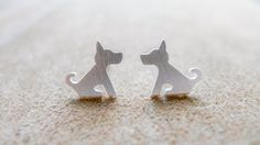 Sitting Dog, Chic Idea Silver Accessories by PIMTHA , Cute Stud Earring, Homemade and Handmade