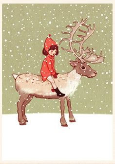 """Me & My Reindeer"" by Belle & Boo Illustration. Buy: http://belleandboo.com/product.php?id_product=711 View more: http://belleandboo.com/category.php?n=100&id_category=162"