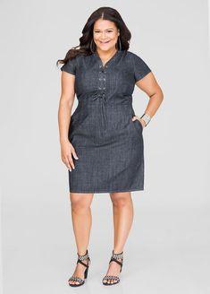 77032bb4048 Lace-Up Denim Dress. Denim Plus Size ...