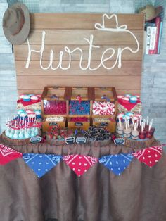 What a great backdrop at a Cowboy birthday party!  See more party ideas at CatchMyParty.com!