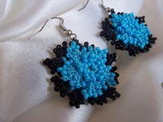 Light blue and black BEADED EARRINGS 'OYA' by colourfulrose, $10.90