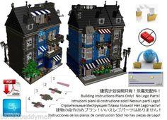Lego-vittoriano Fiore-Shop-Istruzioni-Only-modulare-Custom-Town-City-Costruzione