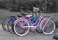 Love the pop of color the vintage bikes add in this black and white picture.