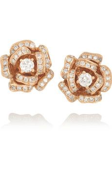 Anita Ko 18-karat rose gold diamond earrings   NET-A-PORTER