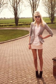 hate the skirt (too short) but i like the sweater blazer and white top combo