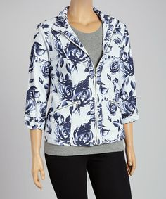 Look what I found on #zulily! Blue & White Floral Zip-Up Jacket - Plus by Live A Little #zulilyfinds