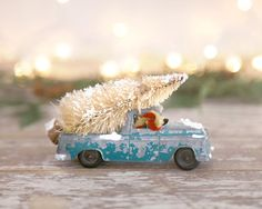 Vintage Truck and Christmas Tree Green by TheHeirloomShoppe