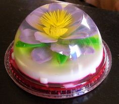 Yes, it's jello and milk-based colored gelatin; Jello Cake, Jello Desserts, Edible Food, Edible Art, Puding Art, 3d Jelly Cake, Jelly Flower, Incredible Edibles, Japanese Sweets
