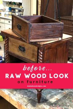 Do you love the DIY raw wood look on furniture? It's really popular with the farmhouse style. I also love wood and paint combinations. Diy Furniture Projects, My Furniture, Colorful Furniture, Furniture Makeover, Painted Furniture, Refurbished Furniture, Repurposed Furniture, Vintage Furniture, Diy Projects