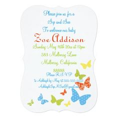 """Butterfly Kisses Baby Sip and See 5"""" X 7"""" Invitation Card"""