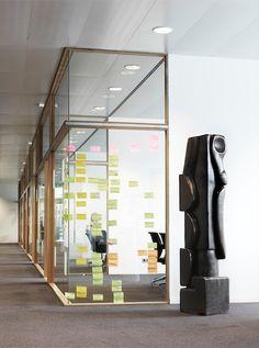 Mathieu Nab Sculptures I Modern Art Book I Photography by Frank Brandwijk I Interior 'Industrial Office' 'Yellow Post-it's on Window' 'Wood'