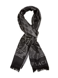 Versace Logo Wool Scarf, x Rectangular scarf Wool Printed Frayed edges Measurements: Length width This product was sourced for Gilt by a trusted independent supplier Material: wool Care: Dry clean Brand: Versace Origin: Italy Versace Scarf, Versace Logo, Cheap Shirts, Wool Scarf, Fasion, Alexander Mcqueen Scarf, Scarves, Velasco, Men Stuff