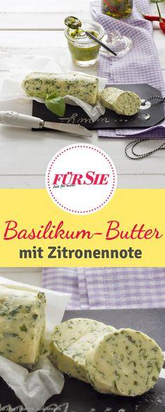 Basilikum-Zitronen-Butter vegan - schmeckt lecker zu geröstetem Brot vom Grill