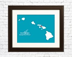Honeymoon destination personalized with your names and a hand painted heart ♥. By My Place in the World