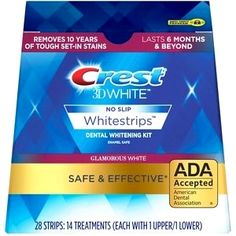 Crest White Whitestrips Glamorous White Teeth Whitening Kit,… If you are taking a glance … Teeth Whitening Cost, Activated Charcoal Teeth Whitening, Natural Teeth Whitening, Whitening Kit, Get Whiter Teeth, Crest 3d White, White Teeth, Healthy Teeth, Peppermint