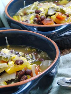Spicy Black Bean Soup with Roasted Vegetables