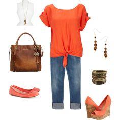 Orange/brown/gold, created by kvanderslice on Polyvore