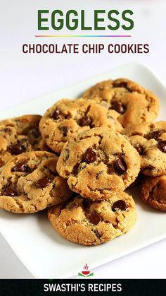 Eggless Chocolate Chip Cookie Recipe, Chocochip Cookies Recipe, Eggless Cookie Recipes, Fun Baking Recipes, Chocolate Chips, Quick Chocolate Chip Cookies, Brookies Recipe, Snack Recipes, Cooking Recipes