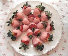 strawberries in chocolate...pink chocolate, of course.