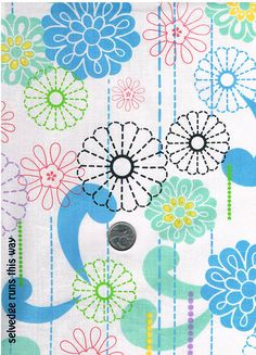 1 Yard Length of All-New Dynamic Graphic Floral Fabric by TreasureBeachDolls, $4.50