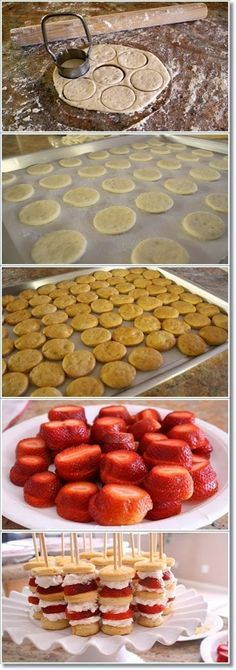 How To Strawberry Shortcake Skewers. As a finger food, use toothpicks.