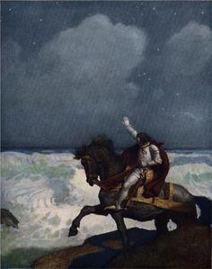 "N.C. Wyeth. ""When Sir Percival came nigh unto the brim""  from  Sir Thomas Malory's ""The Boy's King Arthur"""