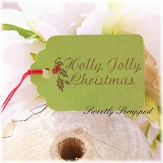 Holly Jolly Christmas Tags Glittered Green by SweetlyScrappedArt