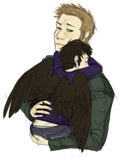 Dean and baby! So cute! I want a episdoe where cas turns into a toddler and sam and dean have to reverse him back. (SIDE NOTE: that would be epic. It could be a whole spoof episode. Supernatural Facts, Supernatural Angels, Demon Dean, Dean And Castiel, Best Friend Relationship, Destiel Fanart, John Green Books, Superwholock, Cute Babies