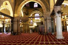 Inside Al-Aqsa Mosque on Temple Mount, Old Jerusalem