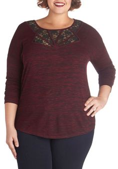 Currant Obsession Top in Plus Size by BB Dakota - Knit, Sheer, Red, Black, Lace, Casual, Long Sleeve
