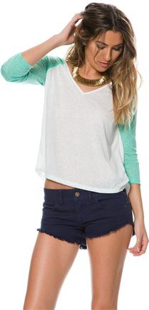 Billabong Wait For It Raglan Tee. http://www.swell.com/New-Arrivals-Womens/BILLABONG-WAIT-FOR-IT-RAGLAN-TEE?cs=GN
