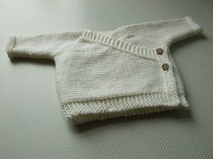 Baby Kimono - A sweet little cardi, this simple crossover front top is easy to knit - pattern by Elizabeth Jarvis -