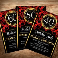 Gold Red Black Adult Birthday Invitation / Adult by PartyInkStudio, $11.00