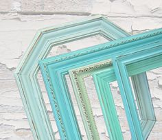 Beach Shabby Chic Frames Picture Frame Set LG Open Frames Turquoise Aqua Mint Home Decor