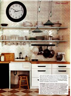 wooden counters & open storage  (domino magazine)