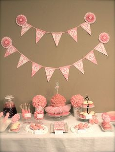 pink ballerina birthday party dessert table with banner Double Birthday Parties, Birthday Party Desserts, Ballerina Birthday Parties, Ballerina Party, Pink Birthday, Birthday Ideas, Angelina Ballerina, 80th Birthday, Pink Dessert Tables