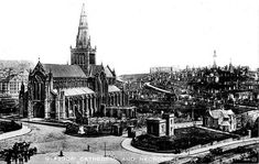Early photo of the Glasgow Cathedral with the world famous Victorian Necropolis in the hill in the background. Scotland History, Glasgow Scotland, Gorbals Glasgow, Glasgow Necropolis, Glasgow Cathedral, Victorian Gardens, Old Photos, Paris Skyline, Graveyards