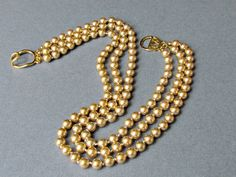 Triple Strand Kenneth J Lane Gold Pearl Necklace by vintagepaige