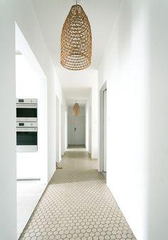 Our minimalist, beachy hallway makeover Decoration Hall, Entry Hallway, Entryway, Hallway Lighting, Vestibule, Interior Barn Doors, Clematis, White Paints, Flooring
