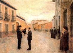 Francisco Carretero y Antonio López hablando. 1959. Obra de Antonio López Garcí