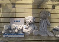 "Gray Plush from Gund - Soft and the ""in"" color for nurseries today.  Picture from Toy Fair NY 2016.  See more at my Highlights of Toy Fair post  http://www.grandmachronicles.com/2016/03/highlights-of-toy-fair-ny-2016.html"