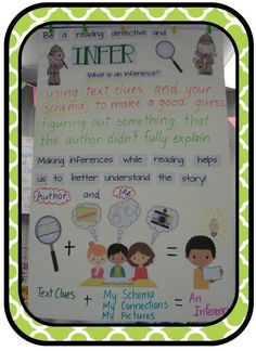 Be a Reading Detective and Infer chart. Text Clues + My Schema, My Connections, My Pictures = An Inference.