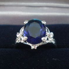 Butterfly Sapphire Blue Oval Silver Engagement Wedding by yhtanaff, $22.00
