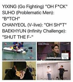 Suho what are you doing to these boys Funny Kpop Memes, Exo Memes, Exo Ot12, Chanbaek, Kpop Exo, Exo K, K Pop, Steven Universe, Chanyeol Baekhyun