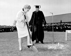 Commencement week in 1968, Mary Gaston Stollenwerck Jones broke ground on Barge Hospital while her son, Bob Jones Jr. looked on.
