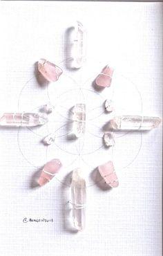 LOVE  framed sacred crystal grid  clear quartz, rose quartz, sacred geometry