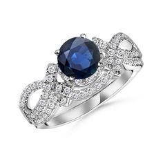 Round Sapphire and Diamond Designer Wedding Ring Set: Angara