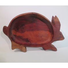 Rabbit Bowl, Vintage Wooden Serving Tray Retro Dining Cottage Party... ($22) ❤ liked on Polyvore featuring home, kitchen & dining, serveware, wooden serving trays, fruit bowl, bunny platter, wood platter and fruit platter