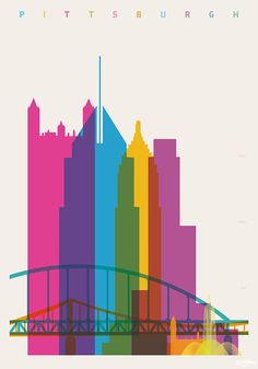 Shapes of Pittsburgh art print by DesignedbyYoni on Etsy